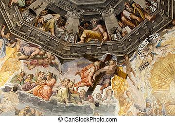 giorgio, frescos, último, zuccari, creado, duomo, cupola:, ...