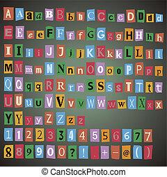giornale, alfabeto, con, lettere, numeri, e, symbols.