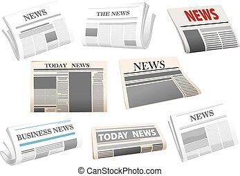 giornale, bianco, isolato, icone