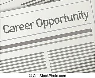 giornale, carriera, opportunità, annuncio
