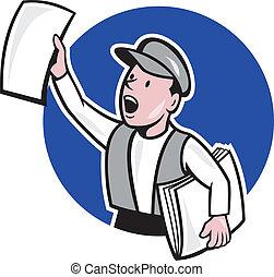giornale, cerchio, vendita, cartone animato, strillone