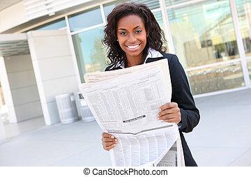 giornale, donna, carino, affari, lettura