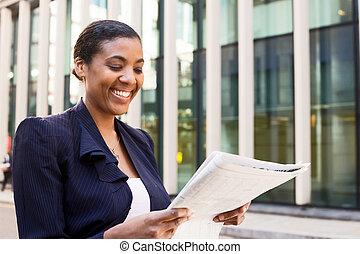 giornale, donna, giovane, affari, lettura