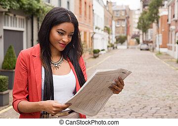 giornale, donna, giovane, lettura