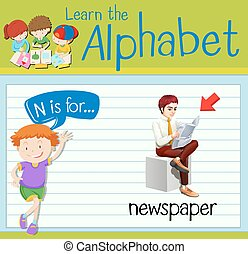 giornale, flashcard, lettera n