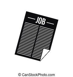 giornale, icona, titolo, lavoro