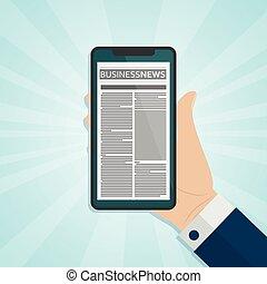 giornale, schermo, smartphone, tenendo mano