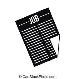 giornale, stile, titolo, semplice, lavoro, icona