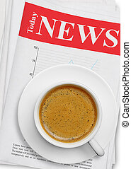 giornale, tazza caffè