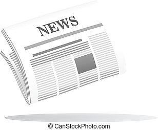giornale, testata, piegato, notizie