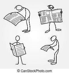 giornale, uomini, figure, bastone, o