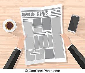 giornale, uomo affari, cartone animato, tenendo mano