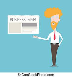 giornale, uomo, concetto, affari, mostra