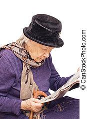 giornale, vecchio, leggere, signora
