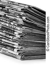 giornali, bianco, mucchio, isolato, fondo