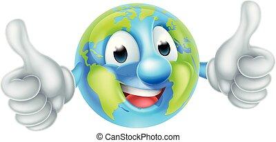 giorno, cartone animato, mondo, terra, carattere, mascotte, globo