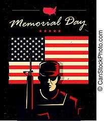 giorno commemorativo, card., soldato, contro, americano, flag.