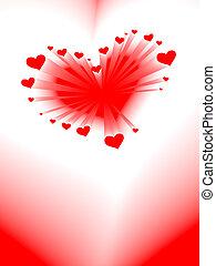 giorno, cuore, scheda, romantico, valentine, vettore
