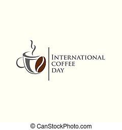 giorno, cup., logo., 1, ottobre, illustrazione, logotipo, icona, internazionale, vettore, mondo, fondo., caffè, mappa, bianco