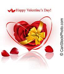 giorno fidanzato, fondo., cuore rosso, fatto, di, petali rose, con, regalo, rosso, ribbons., vettore, illustrazione