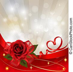 giorno fidanzato, fondo., rosso sorto, con, regalo, rosso, bow., vettore, illustrazione