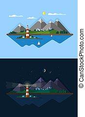 giorno, illustration., paesaggio, appartamento, vettore, notte, lighthouse.