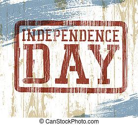 giorno indipendenza, francobollo, illustrazione, legno, eps10, vettore, fondo.
