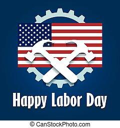 giorno, lavoro, felice, emblema
