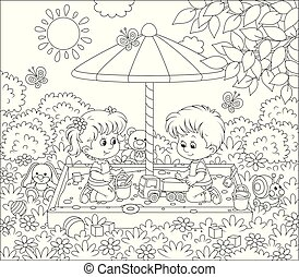 giorno pieno sole, bambini, sandbox, piccolo, gioco