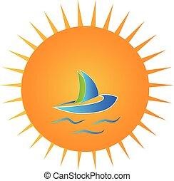 giorno pieno sole, barca blu, logotipo