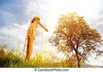 giorno pieno sole, e, gioia, di, vivente