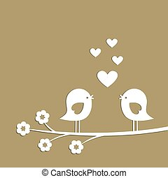 giorno, taglio, scheda, carino, uccelli, elegante, cuori, valentina, vettore, paper., bianco
