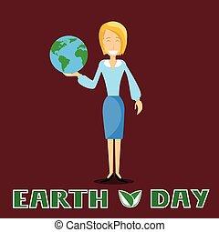 giorno terra, donna affari, presa, globo, aprile, vacanza