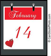 giorno valentine, cima scrivania, promemoria