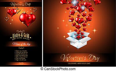 giorno valentine, menu ristorante, sagoma, fondo