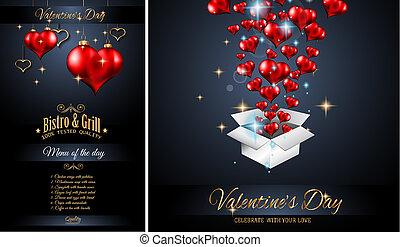 giorno valentine, menu ristorante, sagoma, fondo, per, cena romantica