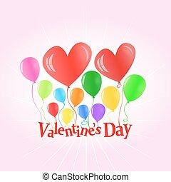 giorno valentine, palloni, sollevamento, le