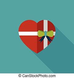 giorno valentine, presente, appartamento, icona, con, lungo,...