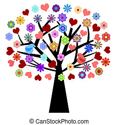 giorno valentines, albero, con, amare uccelli, cuori, fiori