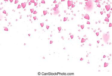giorno valentines, bordo, fondo., cadere, dal di sopra, romantico, rosa, cuori amore