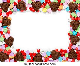 giorno valentines, caramella, cornice, bordo