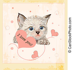 giorno valentines, cartolina auguri, con, gattino, e, cuori
