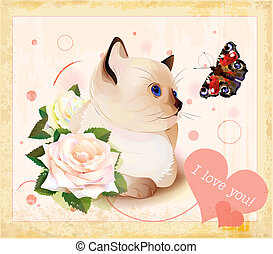 giorno valentines, cartolina auguri, con, gattino, farfalla, e, rose