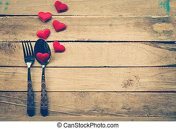 giorno valentines, cena, con, montaggio tavola, in, rustico, legno, per, vendemmia, style.