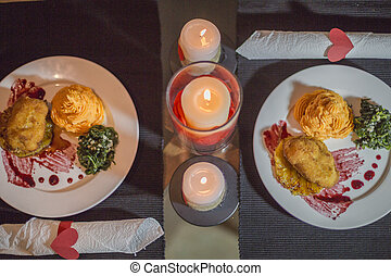 giorno valentines, cena, scena, e, amore