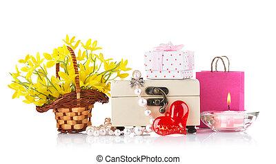 giorno valentines, concetto, con, regalo, e, fiori