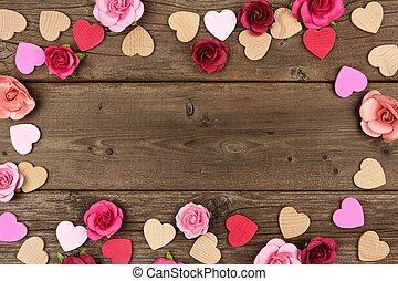 giorno valentines, cornice, di, cuori, e, rose, contro, rustico, legno