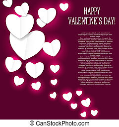 giorno valentines, cuore carta, backgroung, vettore,...