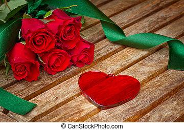 giorno valentines, cuore, con, rose