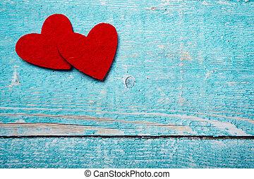 giorno valentines, cuore rosso, su, legno, fondo